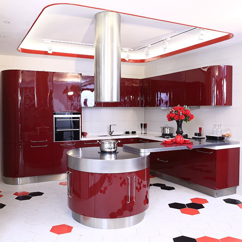 X002 Marilyn Monroe - Curve Shape Stainless Steel Kitchen Red Color