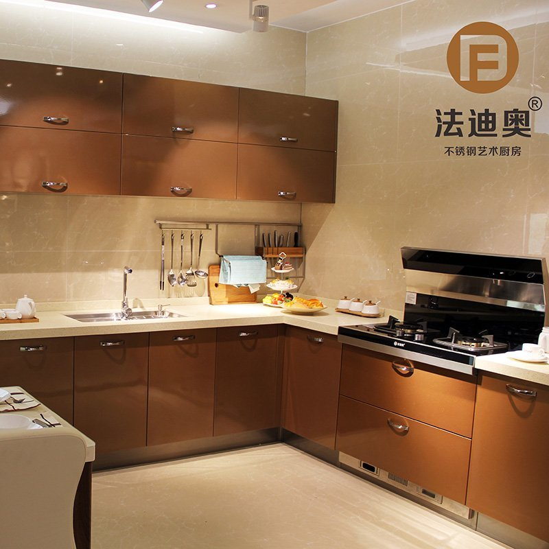 J003 Rose Gold - Simple Design L Shape Kitchen for Home