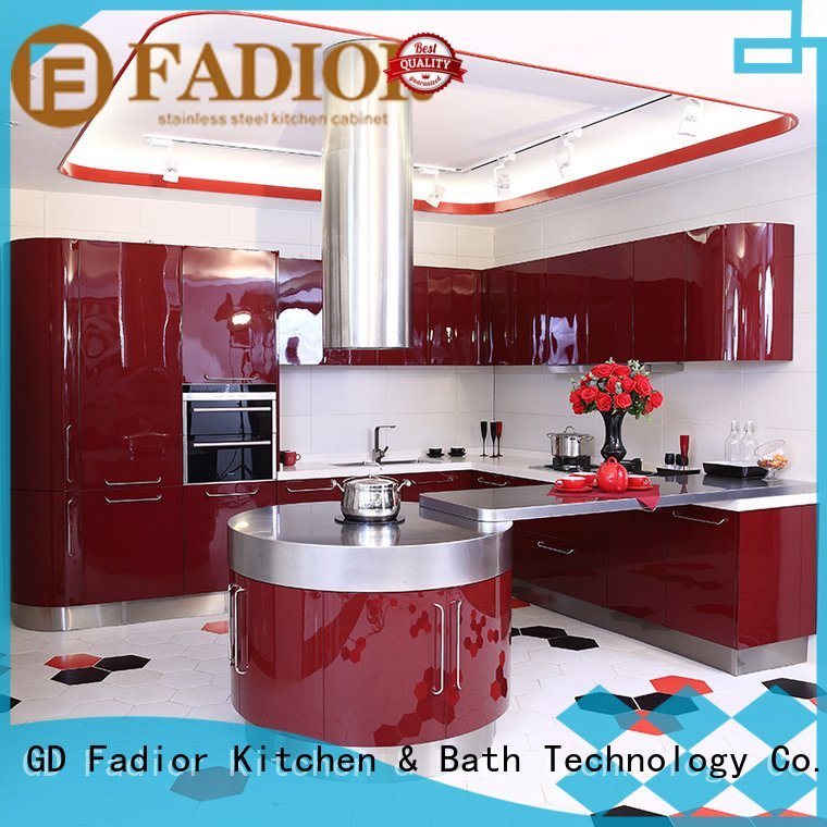 Fadior Stainless Steel Kitchen Cabinets Brand gold 304 steel metal kitchen cabinets luxury gilt