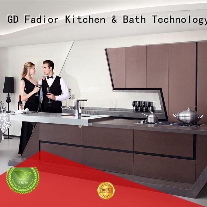 round 304 steel luxury OEM metal kitchen cabinets Fadior Stainless Steel Kitchen Cabinets